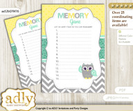 Neutral  Owl Memory Game Card for Baby Shower, Printable Guess Card, Mint Yellow, Chevron
