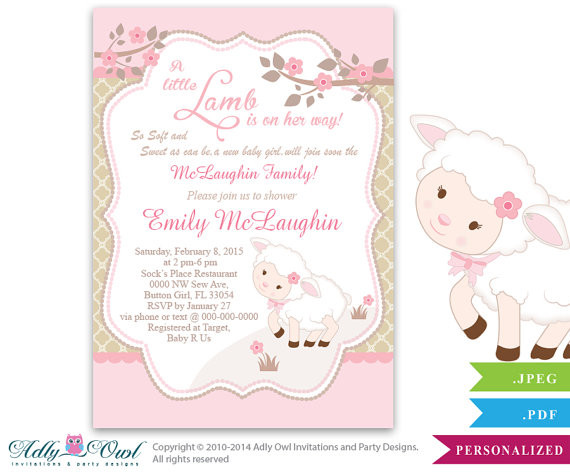 lamb girl baby shower invitation for a new baby girl printable sheep