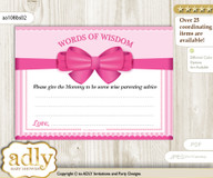 Pink Girl Bow Words of Wisdom or an Advice Printable Card for Baby Shower, Baby