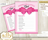 Girl Bow Wishes for a Baby, Well Wishes for a Little Bow Printable Card, Baby, Pink