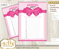 Girl Bow Memory Game Card for Baby Shower, Printable Guess Card, Pink, Baby