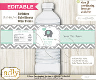Text Editable Boy Elephant Water Bottle Label, DIY Personalizable Wrapper Digital File, print at home for any event