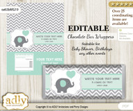 Personalizable Boy Elephant Chocolate Bar Candy Wrapper Label for Boy  baby shower, birthday Mint Grey , editable wrappers