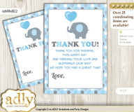 Boy  Peanut Thank you Cards for a Baby Boy Shower or Birthday DIY Blue Grey, Polka