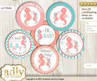 Baby Shower Baby Seahorse Cupcake Toppers Printable File for Little Baby and Mommy-to-be, favor tags, circle toppers, Turquoise, Coral
