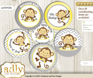 Baby Shower Boy Girl Monkey Cupcake Toppers Printable File for Little Boy Girl and Mommy-to-be, favor tags, circle toppers, Chevron, Yellow Grey