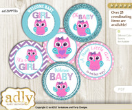 Baby Shower Girl Owl Cupcake Toppers Printable File for Little Girl and Mommy-to-be, favor tags, circle toppers, Purple, Pink Teal