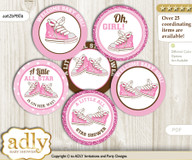 Baby Shower Girl Sneakers Cupcake Toppers Printable File for Little Girl and Mommy-to-be, favor tags, circle toppers, STar, Pink Brown