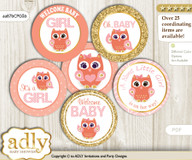 Baby Shower Girl Owl Cupcake Toppers Printable File for Little Girl and Mommy-to-be, favor tags, circle toppers, Gold, Coral Pink