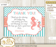 Baby Seahorse Thank you Printable Card with Name Personalization for Baby Shower or Birthday Party