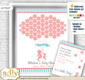 Baby Seahorse Guest Book Alternative for a Baby Shower, Creative Nursery Wall Art Gift, Coral, Turquoise
