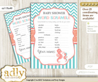Baby Seahorse Word Scramble Game for Baby Shower