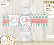 Baby Seahorse Water Bottle Wrappers, Labels for a Seahorse  Baby Shower, Coral, Turquoise