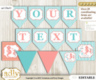 DIY Personalizable Baby Seahorse Printable Banner for Baby Shower, Coral, Turquoise