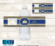 Crown  Prince Water Bottle Wrappers, Labels for a  Prince   Baby Shower,  Gold Blue ,  Chevron