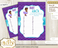 African Princess Baby ABC's Game, guess Animals Printable Card for Baby Princess Shower DIY – Chevron nn