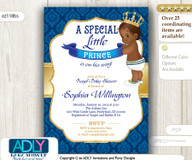 African-American Prince, King Shower Invitation in royal blue and gold
