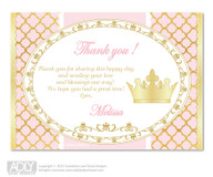 Princess Royal  Royal  Thank you Printable Card with Name Personalization for Baby Shower or Birthday Party