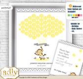 Boy Girl Monkey Guest Book Alternative for a Baby Shower, Creative Nursery Wall Art Gift, Yellow Grey, Chevron
