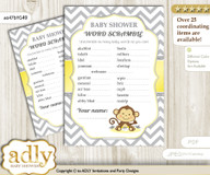 Boy Girl Monkey Word Scramble Game for Baby Shower