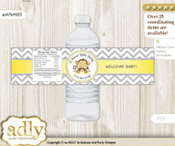 Boy Girl Monkey Water Bottle Wrappers, Labels for a Monkey  Baby Shower, Yellow Grey, Chevron