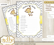 Boy Girl Monkey Wishes for a Baby, Well Wishes for a Little Monkey Printable Card, Chevron, Yellow Grey