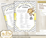 Boy Girl Monkey What is in Mommy's Purse, Baby Shower Purse Game Printable Card , Yellow Grey,  Chevron