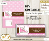 DIY Personalizable Girl Sneakers Chocolate Bar Candy Wrapper Label for Girl  baby shower, birthday Pink Brown , editable wrappers