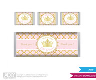 Princess Royal  Royal  Chocolate Bar Wrapper and Nuggets Candy Wrapper Label for Baby  Princess Royal Shower  Gold Pink  ,  Elegant