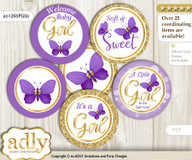 Baby Shower Girl Butterfly Cupcake Toppers Printable File for Little Girl and Mommy-to-be, favor tags, circle toppers, Kisses, Purple Gold