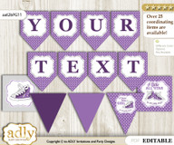 DIY Personalizable Girl Sneakers Printable Banner for Baby Shower, Purple Grey, Sport