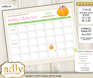 DIY Girl Pumpkin Baby Due Date Calendar, guess baby arrival date game