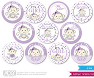Baby Shower  Girl  Monkey Cupcake Toppers Printable File for Little  Girl  and Mommy-to-be, favor tags, circle toppers,  Purple ,  Grey