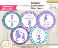 DIY Text Editable Girl Seahorse Cupcake Toppers Digital File, print at home, suitable for birthday, baby shower, baptism