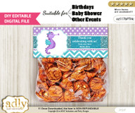 DIY Text Editable Girl Seahorse Goodie  Treat Bag Toppers, Favor Bag Digital File, print at home
