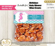 DIY Text Editable Girl Seahorse Goodie  Treat Bag Toppers, Favor Bag Digital File, print at home  n