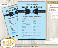 Boy Bow tie Word Scramble Game, Guess Words, Unscramble the words Game Bow tie Shower DIY Blue Black Dots- aa86bsB49