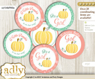 Baby Shower Gold Pumpkin Cupcake Toppers Printable File for Little Gold and Mommy-to-be, favor tags, circle toppers, Coral, Mint