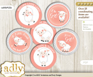 Baby Shower Girl Lamb Cupcake Toppers Printable File for Little Girl and Mommy-to-be, favor tags, circle toppers, Coral, Peach Grey