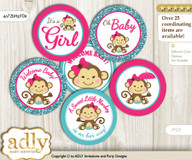 Baby Shower Girl Monkey Cupcake Toppers Printable File for Little Girl and Mommy-to-be, favor tags, circle toppers, Glitter, Hot Pink