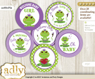 Baby Shower Girl Frog Cupcake Toppers Printable File for Little Girl and Mommy-to-be, favor tags, circle toppers, Polka, Green Purple