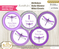 DIY Text Editable Girl Dragonfly Cupcake Toppers Digital File, print at home, suitable for birthday, baby shower, baptism