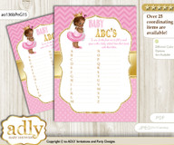 African Princess Baby ABC's Game, guess Animals Printable Card for Baby Princess Shower DIY – Chevron nnnn