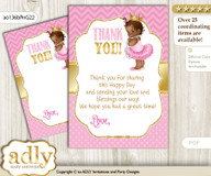 African  Princess Thank you Cards for a Baby African Shower or Birthday DIY Crown, Chevron