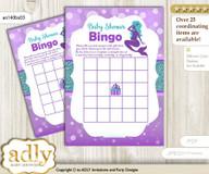 Printable Purple Teal Mermaid Bingo Game Printable Card for Baby Sea Shower DIY grey, Purple Teal, Glitter
