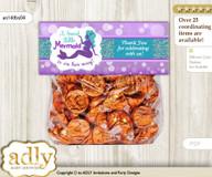 Printable Sea Mermaid Treat or Goodie bag Toppers for Baby Sea Shower or Birthday DIY Purple Teal, Glitter