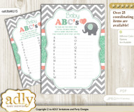 Unisex Elephant Baby ABC's Game, guess Animals Printable Card for Baby Elephant Shower DIY – Chevron