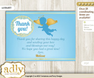 Boy Angel Thank you Printable Card with Name Personalization for Baby Shower or Birthday Party