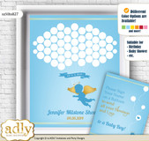 Boy Angel Guest Book Alternative for a Baby Shower, Creative Nursery Wall Art Gift, Gold Blue, Heaven