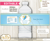 DIY Text Editable Boy Angel Water Bottle Label, Personalizable Wrapper Digital File, print at home for any event
